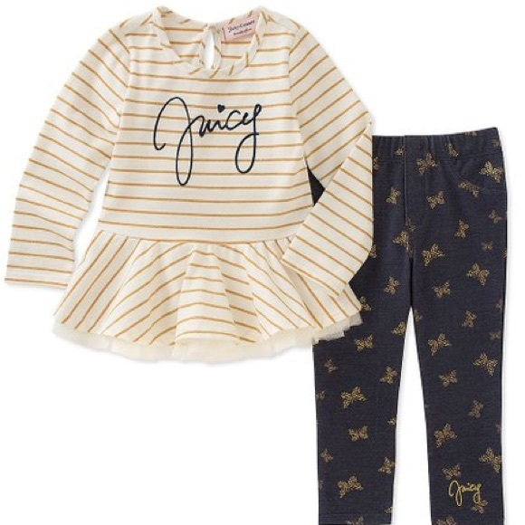 Juicy Couture Other - Juicy Couture White Stripe Tunic & Blue Leggings